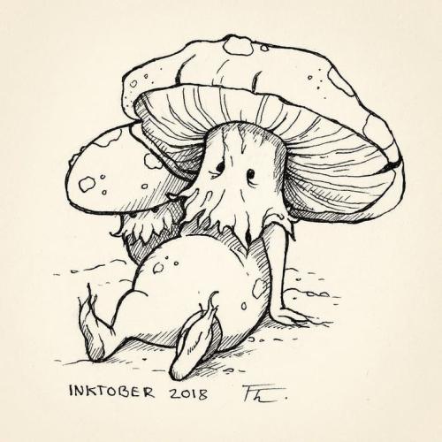 Inktober Mushroom pinned by Sadhbh